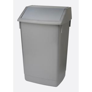 Sivý odpadkový kôš s vyklápacím vrchnákom Addis, 41 x 33,5 x 68 cm