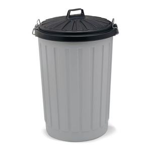 Sivá plastová odpadková nádoba s čiernym vrchnákom Addis, výška 71 cm