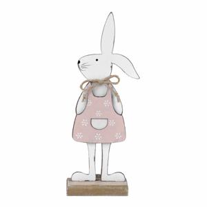Biela dekorácia na podstavci králik v ružových šatách Ego Dekor 25,5 x 9 x 4 cm
