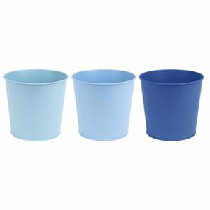 Súprava 3 kovových kvetináčov v odtieňoch modrej Esschert Design, výška 15,4 cm