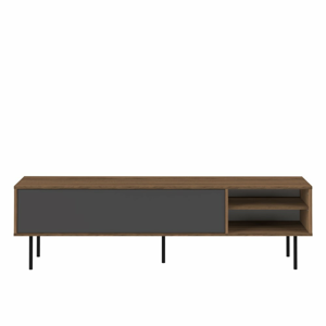 Televízny stolík v dekore orechového dreva s čiernymi výklopnými dvierkami TemaHome Ampère