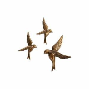 Súprava 3 dekoratívnych mosadzných nástenných vtáčikov BePureHome