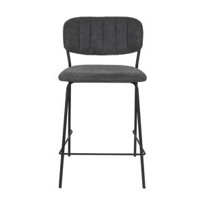 Sada 2 tmavosivých barových stoličiek s čiernymi nohami White Label Jolien, výška 89 cm