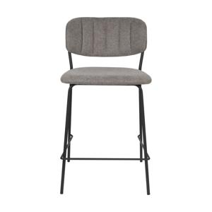 Sada 2 sivých barových stoličiek s čiernymi nohami White Label Jolien, výška 89 cm
