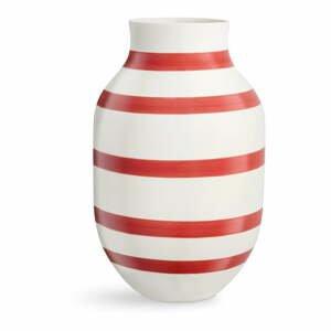 Bielo-červená pruhovaná keramická váza Kähler Design Omaggio, výška 31 cm