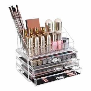 Transparentný akrylový organizér so 4 zásuvkami na šperky a kozmetiku Songmics