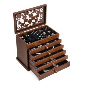 Drevená šperkovnica s 5 zásuvkami Songmics