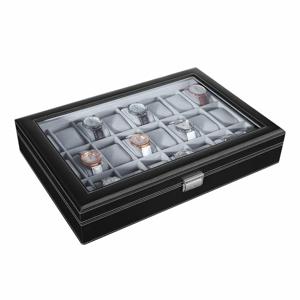 Čierny drevený box na hodinky Songmics