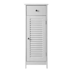 Biela kúpeľňová skrinka so zásuvkou a dvierkami Songmics, výška 89 cm