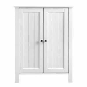 Biela kúpeľňová skrinka s dvierkami Songmics, šírka 60 cm