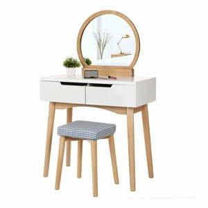 Drevený toaletný stolík so zrkadlom, stoličkou a dvoma zásuvkami Songmics