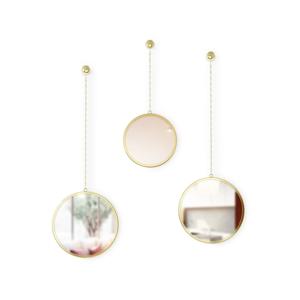 Súprava 3 závesných zrkadiel na reťazi v zlatej farbe Umbra Rondo