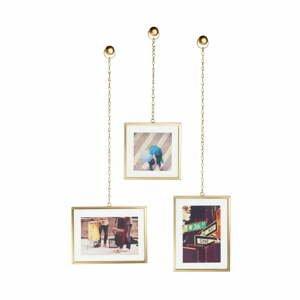 Súprava 3 závesných rámov v zlatej farbe na fotografie Umbra Angle
