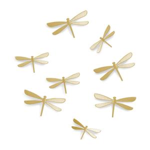 Sada 8 nástenných samolepiek v zlatej farbe Umbra Dragonfly