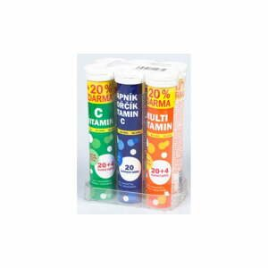 Sada šumivých vitamínov v 6 tubách Maxi Vita, 20 ks/tuba