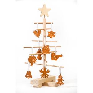 Set dreveného vianočného stromčeka a 14 terakotových ozdôb Nature Home Xmas set