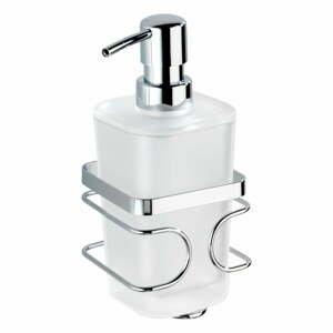 Biely antikoro nástenný dávkovač na mydlo s držiakom Wenko Premium