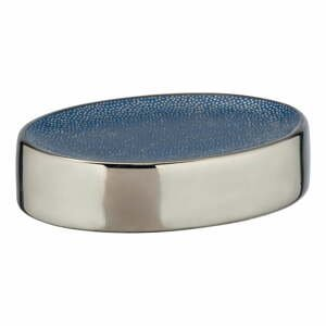 Modrá keramická nádoba na mydlo s detailom v striebornej farbe Wenko Badi