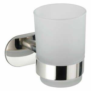 Biely nástenný téglik na kefky s antikoro držiakom Wenko Uno Bosio Turbo-Loc ®