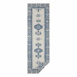 Modro-krémový vonkajší koberec Bougari Duque, 80 x 350 cm