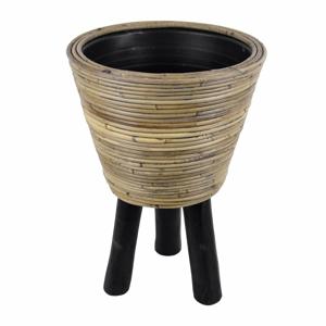 Ratanový kvetináč na drevených nohách Ego Dekor, ⌀ 32 cm