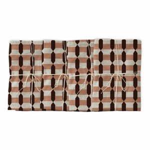 Sada 4 látkových obrúskov s prímesou ľanu Linen Couture Garland Geometric, 43 x 43 cm
