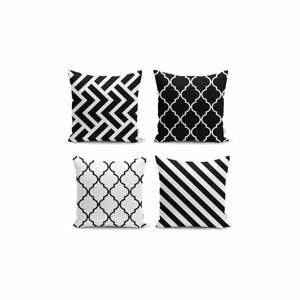 Sada 4 obliečok na vankúše Minimalist Cushion Covers BW Graphic Patterns, 45x45cm