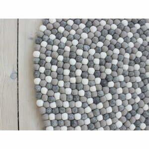 Svetlosivý guľôčkový vlnený koberec Wooldot Ball rugs, ⌀ 120 cm