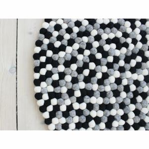 Čierno-biely guľôčkový vlnený koberec Wooldot Ball rugs, ⌀ 140 cm