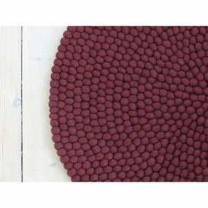 Tmavý višňovočervený guľôčkový vlnený koberec Wooldot Ball rugs, ⌀ 90 cm