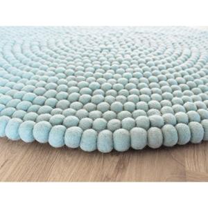 Pastelovomodrý guľôčkový vlnený koberec Wooldot Ball rugs, ⌀ 120 cm