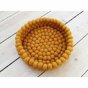 Horčicovožltý guľôčkový vlnený úložný košík Wooldot Ball Basket, ⌀ 28 cm