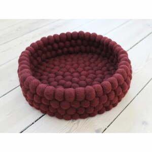 Tmavý višňovočervený guľôčkový vlnený úložný košík Wooldot Ball Basket, ⌀ 28 cm
