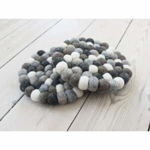 Sivo-biela guľôčková podložka z vlny Wooldot Ball Coaster, ⌀ 20 cm