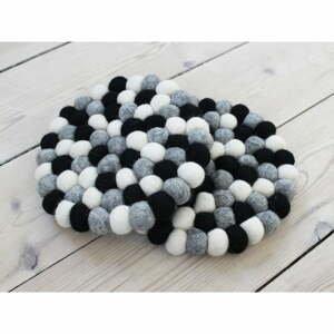 Čierno-biela guľôčková podložka z vlny Wooldot Ball Coaster, ⌀ 20 cm