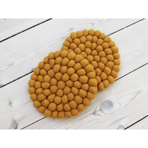 Horčicovožltá guľôčková podložka z vlny Wooldot Ball Coaster, ⌀ 20 cm