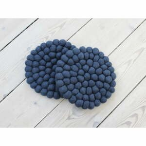 Tmavomodrá guľôčková podložka pod pohár z vlny Wooldot Ball Coaster, ⌀ 20 cm