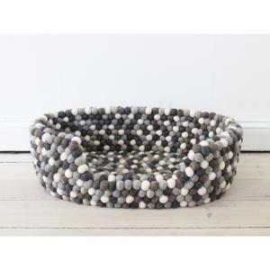 Sivo-biely guľôčkový vlnený pelech pre domáce zvieratá Wooldot Ball Pet Basket, 60 x 40 cm