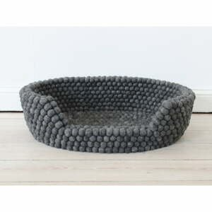 Antracitovosivý guľôčkový vlnený pelech pre domáce zvieratá Wooldot Ball Pet Basket, 80 x 60 cm