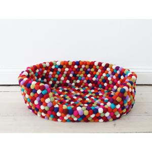 Tmavočervený guľôčkový vlnený pelech pre domáce zvieratá Wooldot Ball Pet Basket, 80 x 60 cm