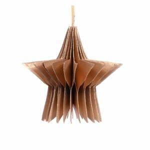 Papierová vianočná ozdoba v tvare hviezdy v zlatej farbe Only Natural, dĺžka 7,5 cm