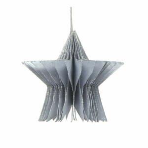 Papierová vianočná ozdoba v tvare hvezdy v striebornej farbe Only Natural, dĺžka 7,5 cm