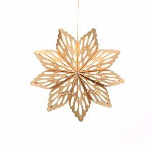 Papierová vianočná ozdoba v tvare vločky v zlatej farbe Only Natural, dĺžka 15 cm