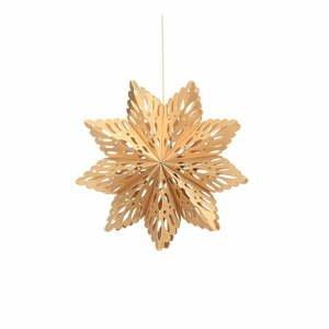 Papierová vianočná ozdoba v tvare vločky v zlatej farbe Only Natural, dĺžka 22,5 cm