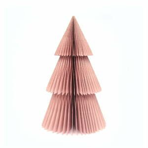 Trblietavá ružová papierová vianočná ozdoba v tvare stromu Only Natural, výška 22,5 cm