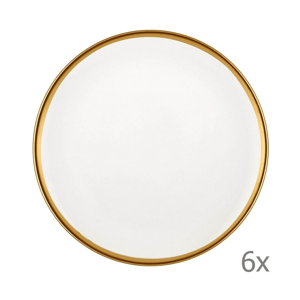 Sada 6 bielych porcelánových dezertných tanierov Mia Halos Gold, ⌀ 19 cm