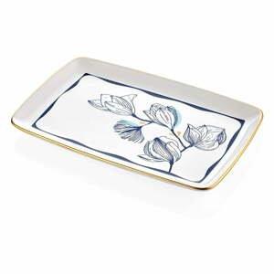 Biely porcelánový servírovací tanier s modrými kvetmi Mia Bleu, 34 x 25 cm