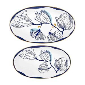 Súprava 2 bielych porcelánových tanierov s modrými kvetmi Mia Bleu