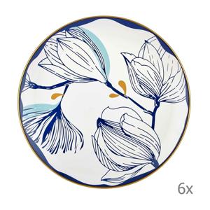 Súprava 6 bielych porcelánových tanierov s modrými kvetmi Mia Bloom, ⌀ 26 cm