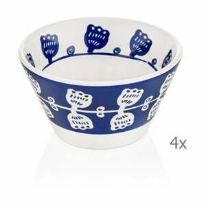 Súprava 4 modro-bielych porcelánových misiek Mia Bloom, ⌀ 10 cm
